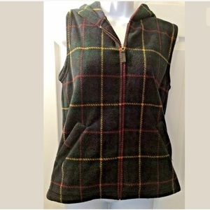 RALPH LAUREN Plaid Ski Vest Hooded Blue Green Red